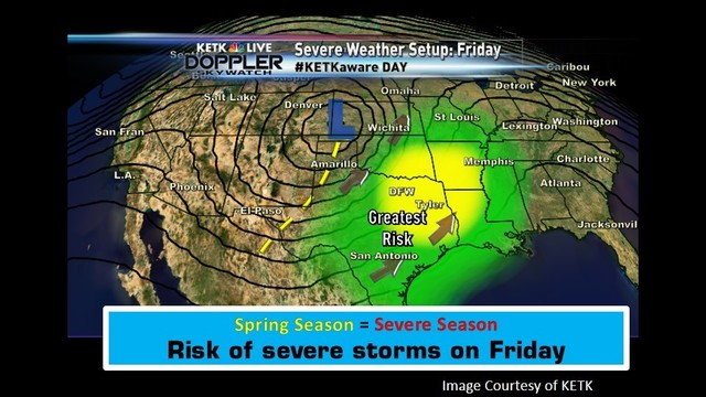 Abnormally warm start to the Spring season with a severe weather threat by Friday