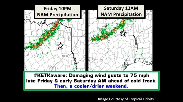 #KETKaware: Storms late this evening & early Saturday morning with cold front