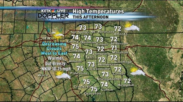 Texas Weather Map Forecast.Tuesday Pm Forecast Sunshine Returning A Breezy Warmer Day