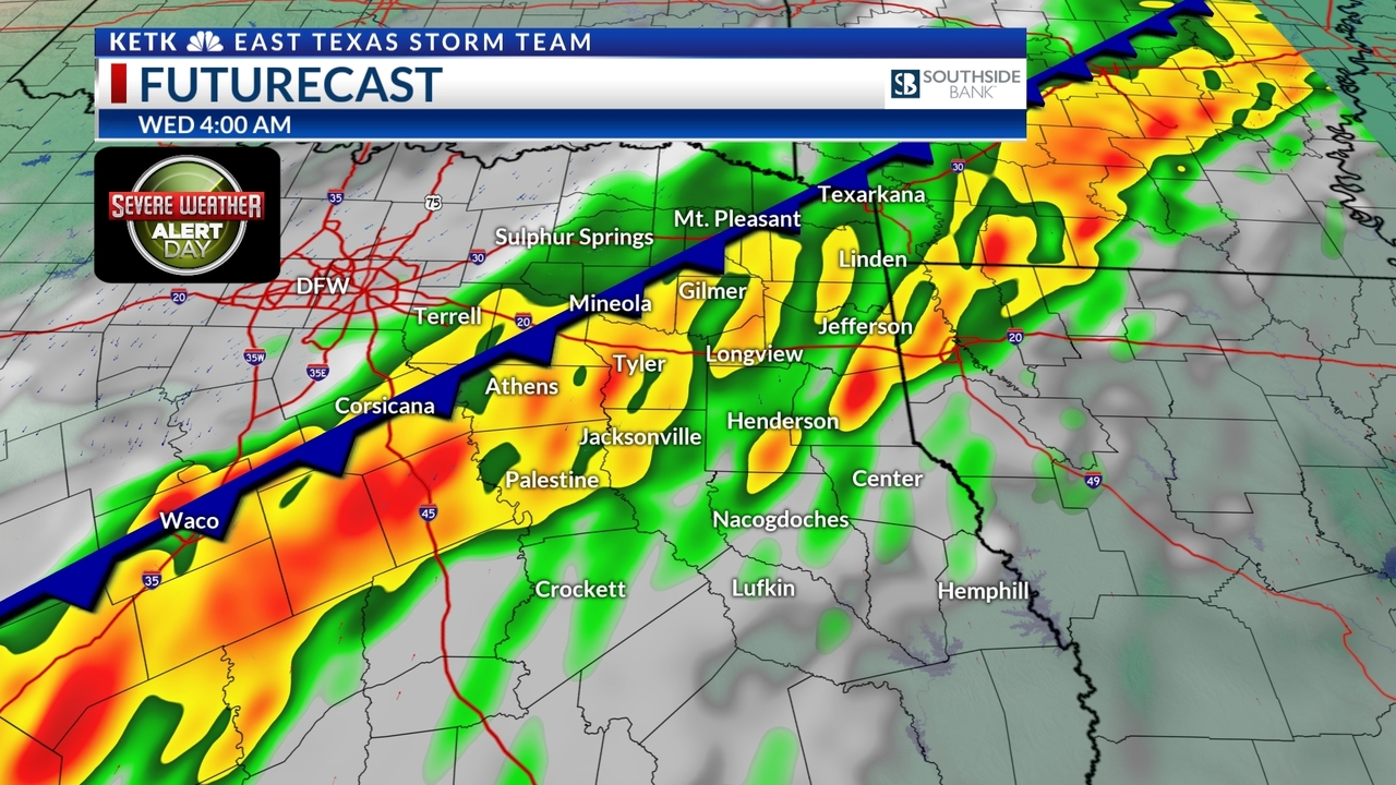 Tyler Weather Map.Weather Alert Heavy Rain Starts Tuesday Late Afternoon And Into