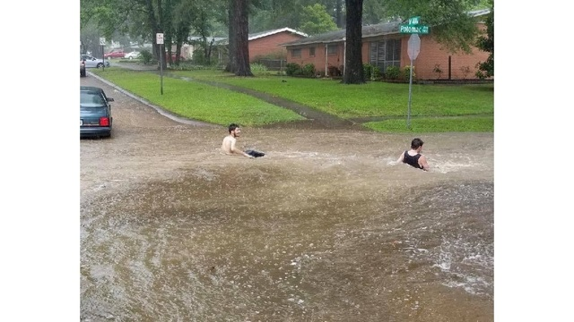 Gone Swimmin': Police warn of wading in floodwaters