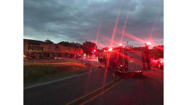 Train engine catches fire while passing through Van Zandt County Saturday evening
